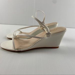 Women's Spurr White Strappy Wedge Heel Shoes Sz 8